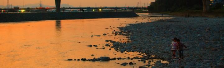 無数のだんじりが川辺に集まる。西条祭り、伊曽乃神社の宮入り。夕暮れ編