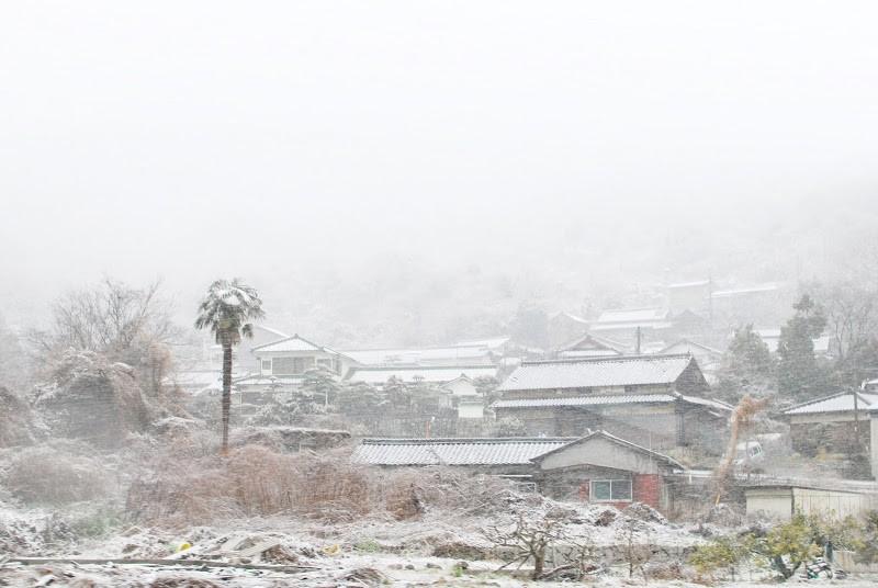 吹雪の日にあえて小豆島の石の産地、北の地へ行ってみる