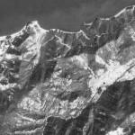 小豆島、石の産地の航空写真
