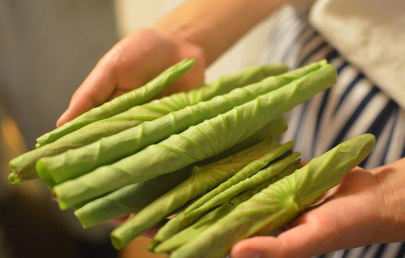 高知県室戸で頂いた古代蓮の「葉」の混ぜご飯