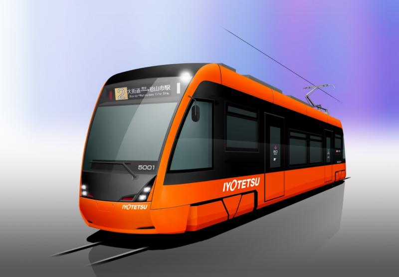 伊予鉄、オレンジ色の新型LRT導入