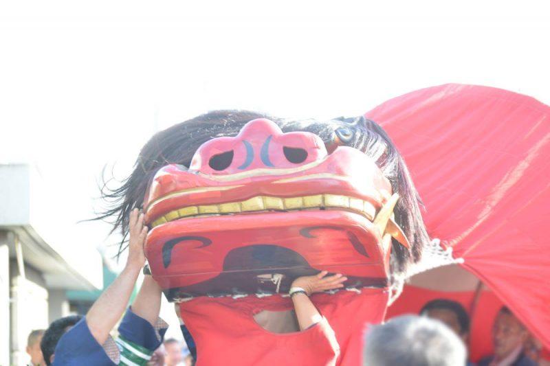 仏生山ちきり神社大祭に舞う大獅子「舟岡大獅子」 – Funaoka Big Lion Dance at Busshozan